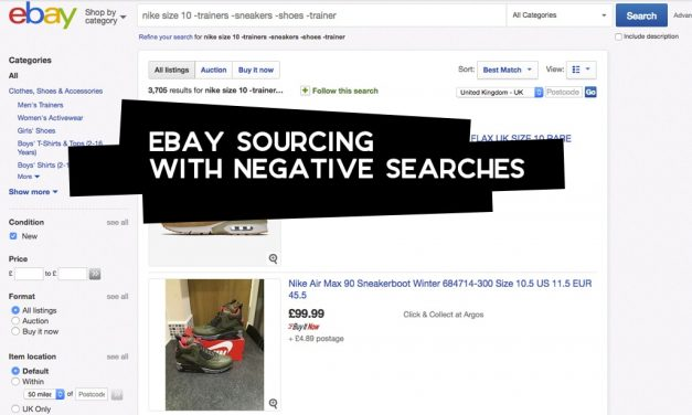 eBay Sourcing with Negative Searches