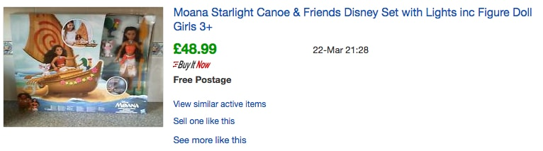 eBay Sold Item - Moana Starlight Canoe Set - Probably Busy