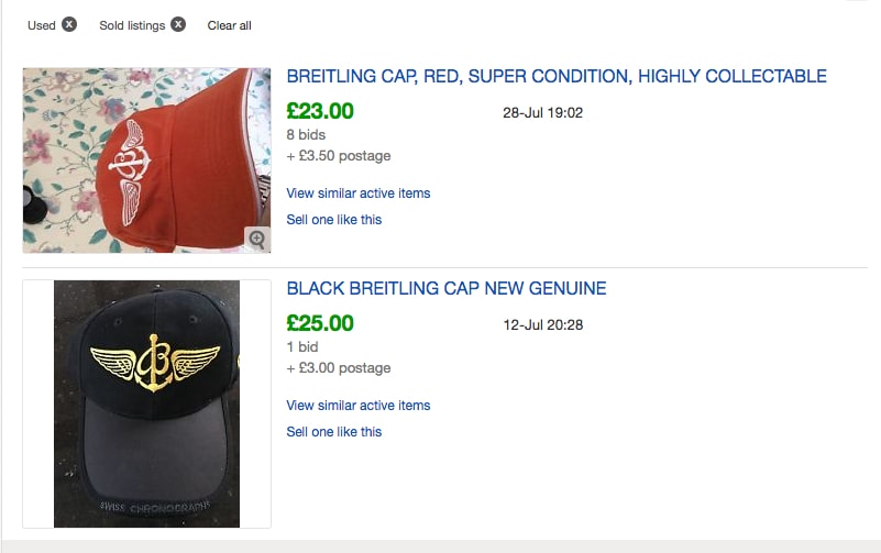 Breitling Baseball Cap eBay Sold Listings - Probably Busy