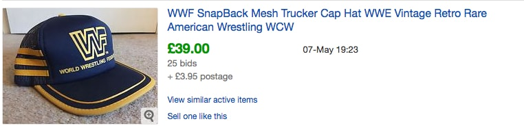 WWF Baseball Cap eBay Sold Listings - Probably Busy