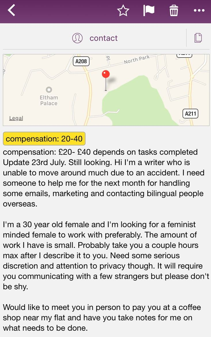 Email Gig - UK Craigslist Ad - Probably Busy