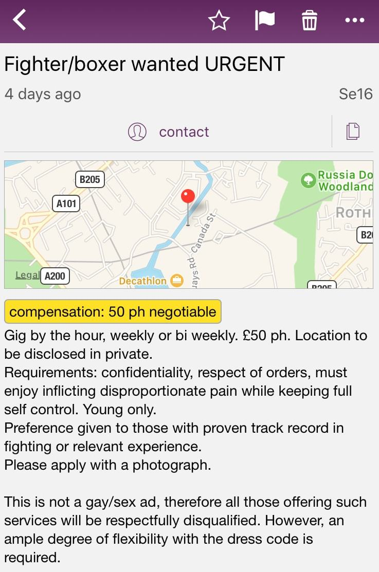 Fighter - UK Craigslist Ad - Probably Busy