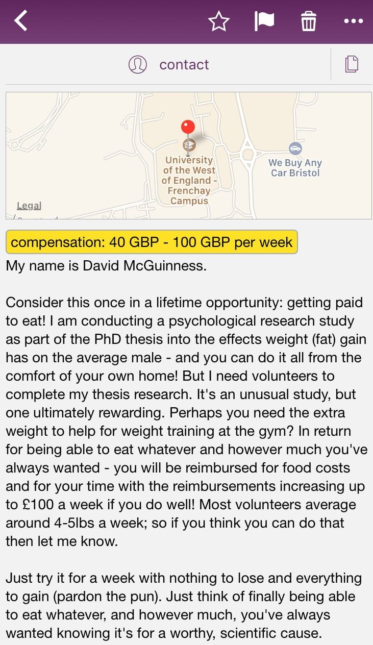 Paid to Eat - UK Craigslist Ad - Probably Busy