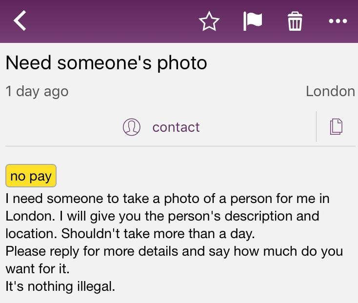 Spy Photographer - UK Craigslist Ad - Probably Busy