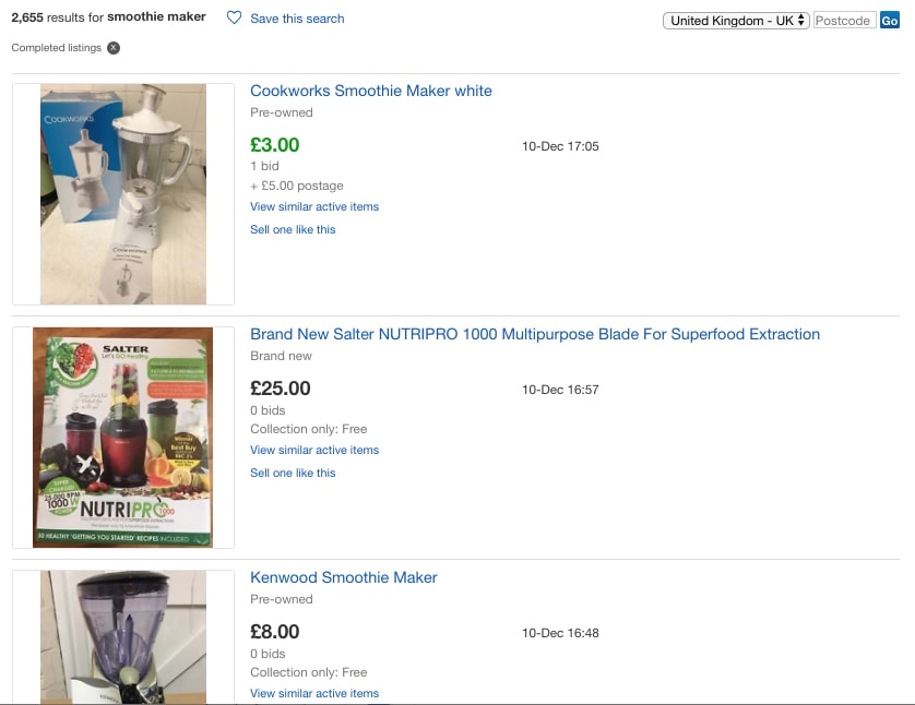 eBay Completed Listings - Smoothie Maker - Probably Busy
